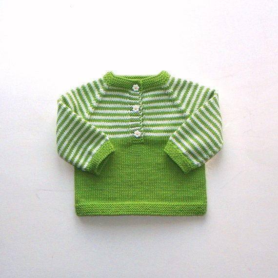 Green and white baby sweater knit wool sweater spring by Tuttolv