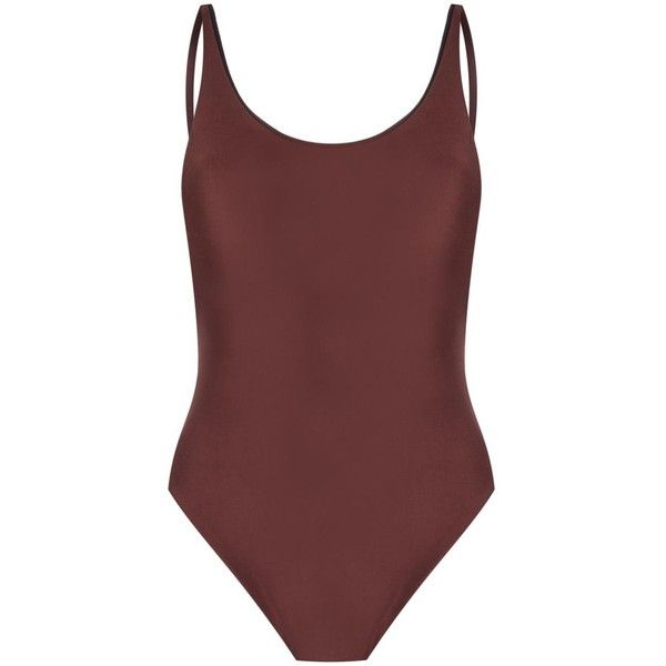 Haight open back swimsuit ($168) ❤ liked on Polyvore featuring swimwear, one-piece swimsuits, brown, brown bathing suit, swim costume, brown one piece swimsuit, swimming costume and spandex swimwear