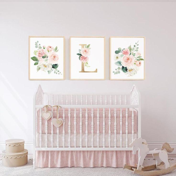 Errötete Sammlung – Set von 3 Monogramm + Blumensträuße – Instant Download – Baby girl nursery art