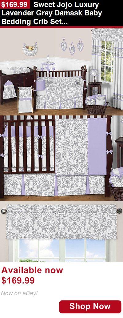Nursery Bedding Sets: Sweet Jojo Luxury Lavender Gray Damask Baby Bedding Crib Set For Newborn Girl BUY IT NOW ONLY: $169.99