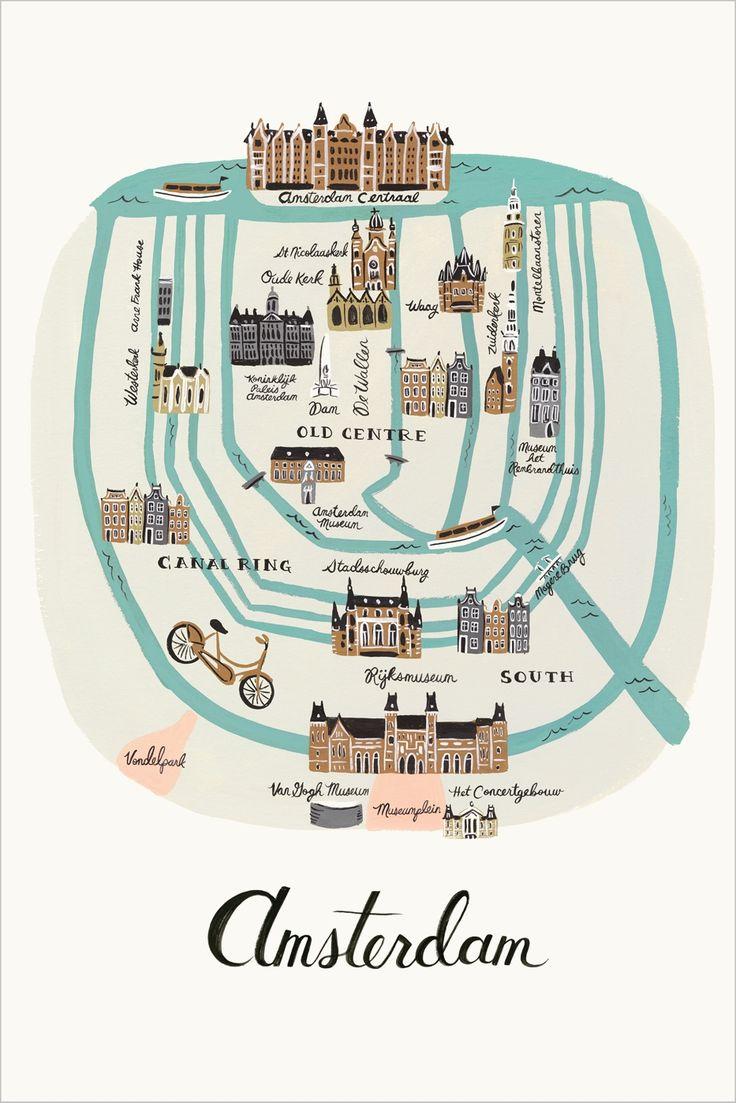 AMSTERDAM - Illustration över Amsterdam. Tryck skapat från en original gouache målning