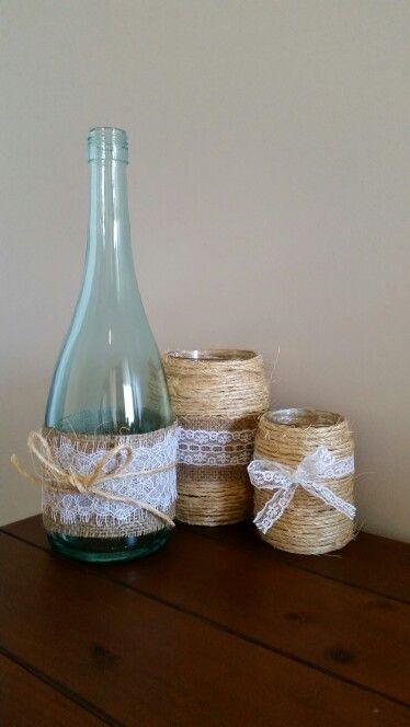 Rustic yet beautiful, homemade vases