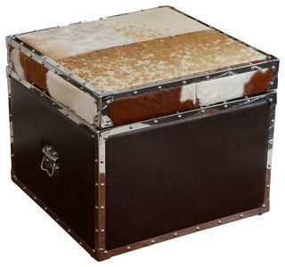Arkansas Cowhide Top Leather Storage Ottoman - Farmhouse - Ottomans And Cubes - by Great Deal Furniture