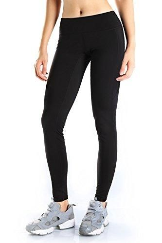 Yogipace Women's Water Resistant Fleece Lined Thermal Tights Winter Leggings wPocket Black - L