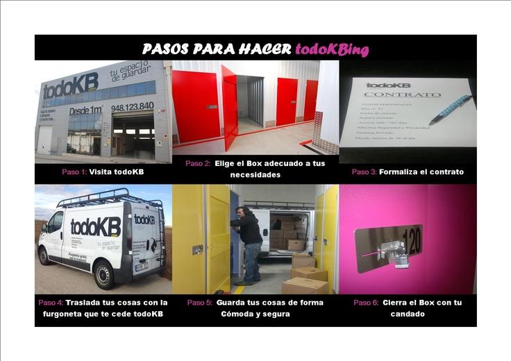 www.todokb.com Pasos para alquilar un trastero o minialmacén en Pamplona. Para particulares y profesionales módulos desde 1m y por el tiempo que necesites.