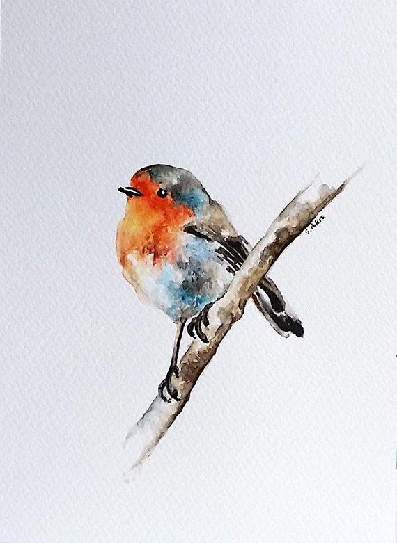 Original Aquarell Vogel In Einem Fruhling Von Artcornershop