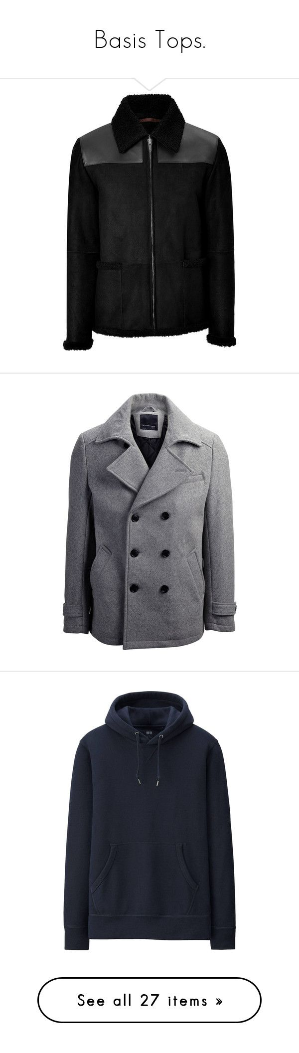 """""""Basis Tops."""" by manclothig ❤ liked on Polyvore featuring men's fashion, men's clothing, men's outerwear, men's jackets, mens shearling leather jacket, mens shearling jacket, mens leather jackets, black, mens waterproof jacket and mens parka"""