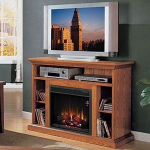 """Beverly 23"""" Premium Oak Media Console Electric Fireplace Cabinet Mantel Package - 23MM374-O107"""
