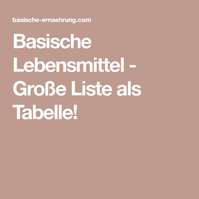 Basische Lebensmittel - Große Liste als Tabelle!