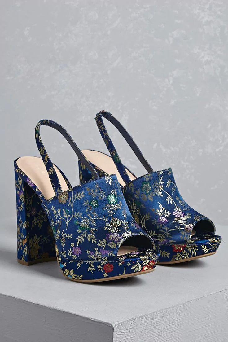 Floral Slingback Platform Heels