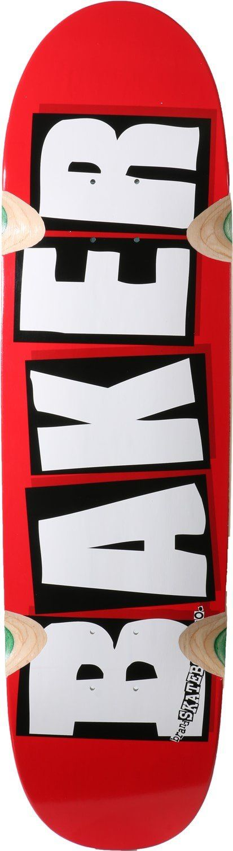 """Baker Brand Logo Cruiser Skateboard Deck - 8.5"""" Red/White"""