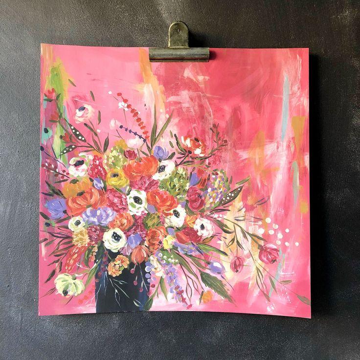 Floral Bouquet Pink Art Print by Bari J.