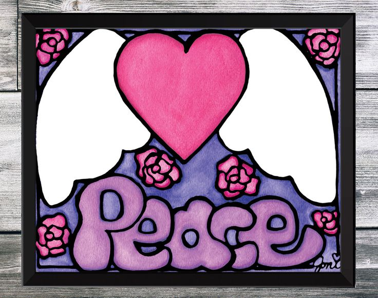 Purple Peace Sign - Hand Painted Watercolor Print