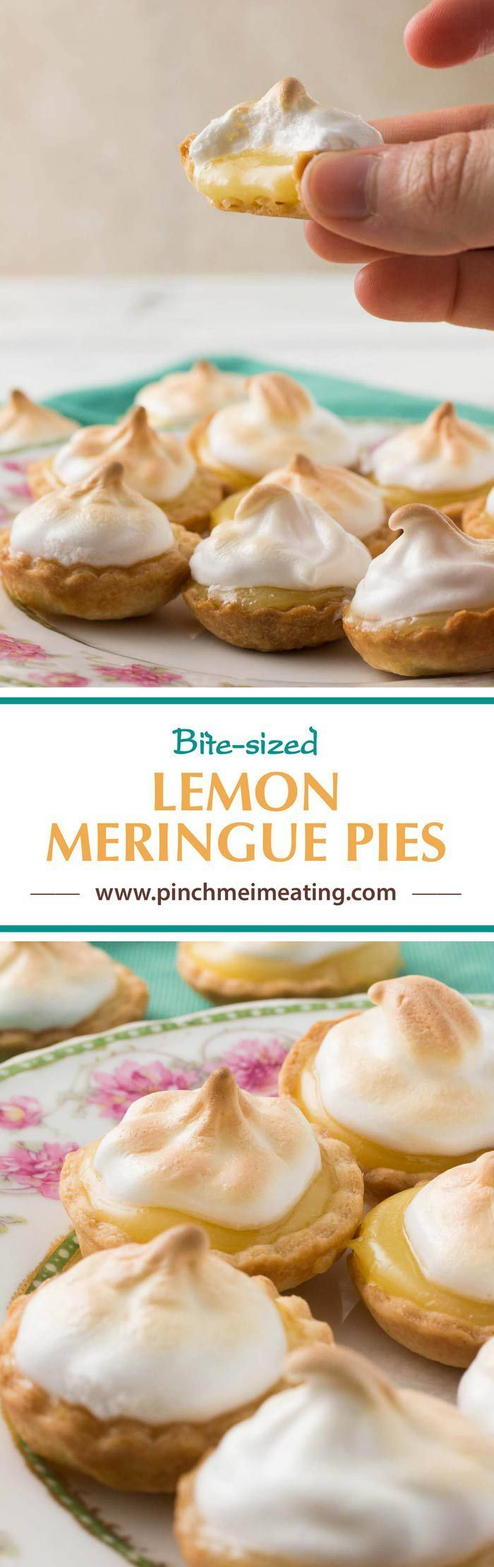 These bite-sized mini lemon meringue pies are a charming and adorable dessert for a springtime or Mother's Day tea party! You can use homemade or store-bought lemon curd. | How to use lemon curd | Mother's Day desserts | Afternoon tea desserts | Afternoon