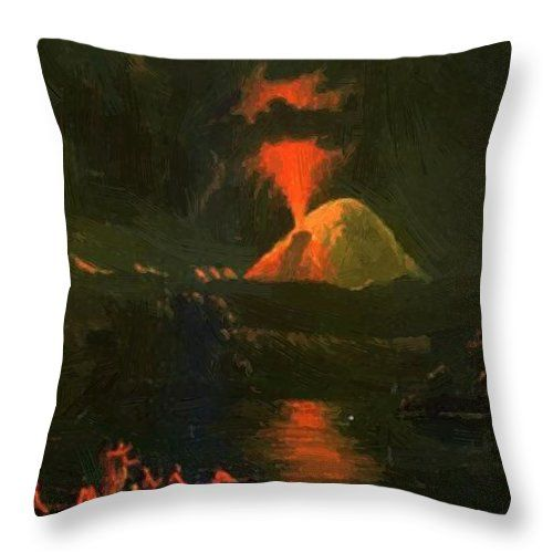 Mount Throw Pillow featuring the painting Mount St Helens Erupting At Night by Kane Paul