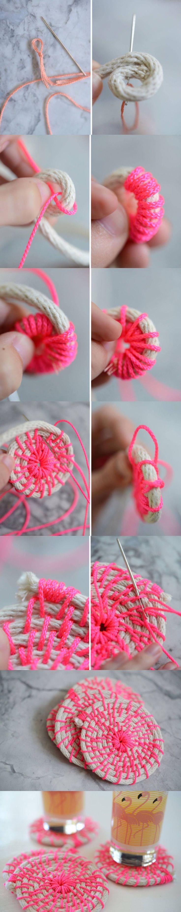 cupcakesandcashmere.com -Posavasos DIY color neón