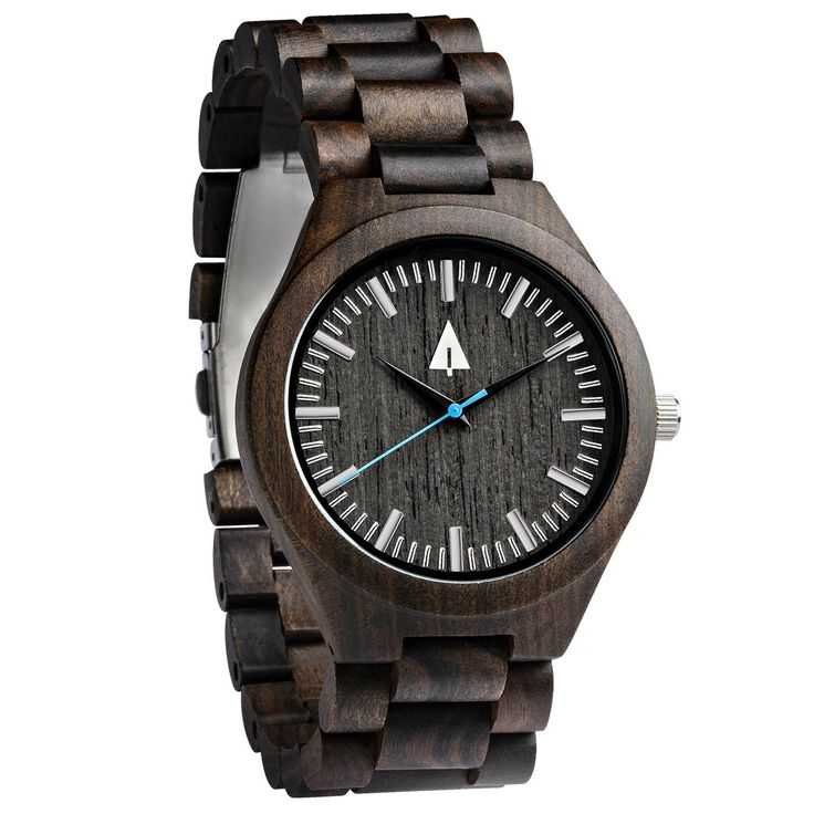 This ebony wood watch has a genuine wood, a vibrant blue secondhand, and is handmade in San Francisco. Personalized engraving available. Great anniversary, wedding, or just-because gift idea!
