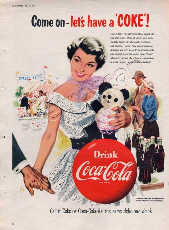 1954 Coca Cola - Girl With Panda - UK Campaign Ad