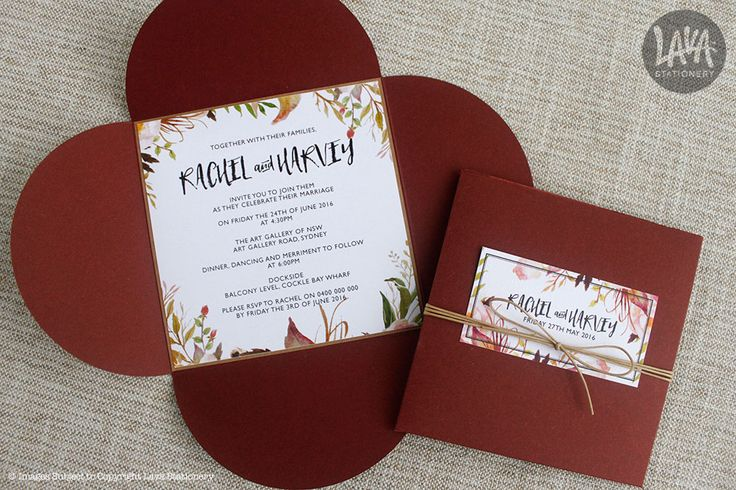 #Petal #WeddingInvitations in #Marsala and wrapped in #twine by www.lavastationery.com.au