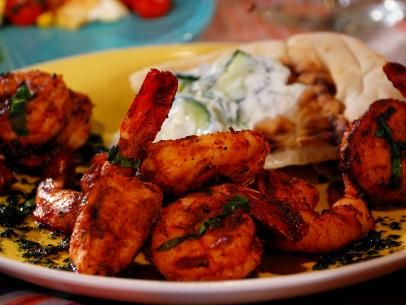 Grilled Shrimp Skewers with Cilantro-Mint Chutney Recipe : Bobby Flay : Food Network