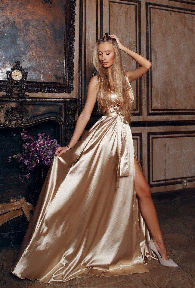 7350eecb0f27e1 Gold Sleeveless Satin Dress - Sale! Up to 75% OFF! Shot at Stylizio for  women s and men s designer handbags