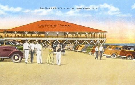 The old Dancing Pier, Folly Beach, Charleston, South Carolina...