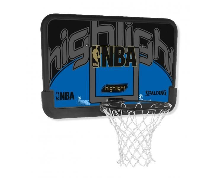 Tablero Spalding NBA Highlight Backboard, con aro sólido de acero; apto para exteriores www.basketspirit.com/Spalding/Canastas-aros-y-tableros-baloncesto