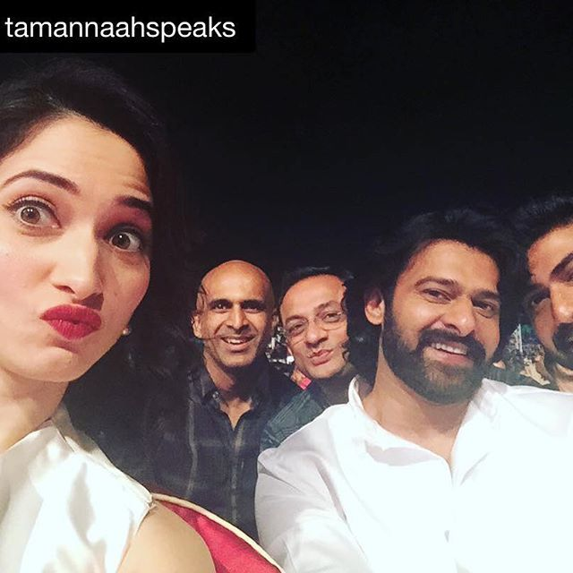 #Repost from @tamannaahspeaks ・・・ From now @shobuy_  you are my pouting guru !!! Reunited with team @baahubalimovie @ranadaggubati #prabhas #prasaddevineni #gamaawards #dubai