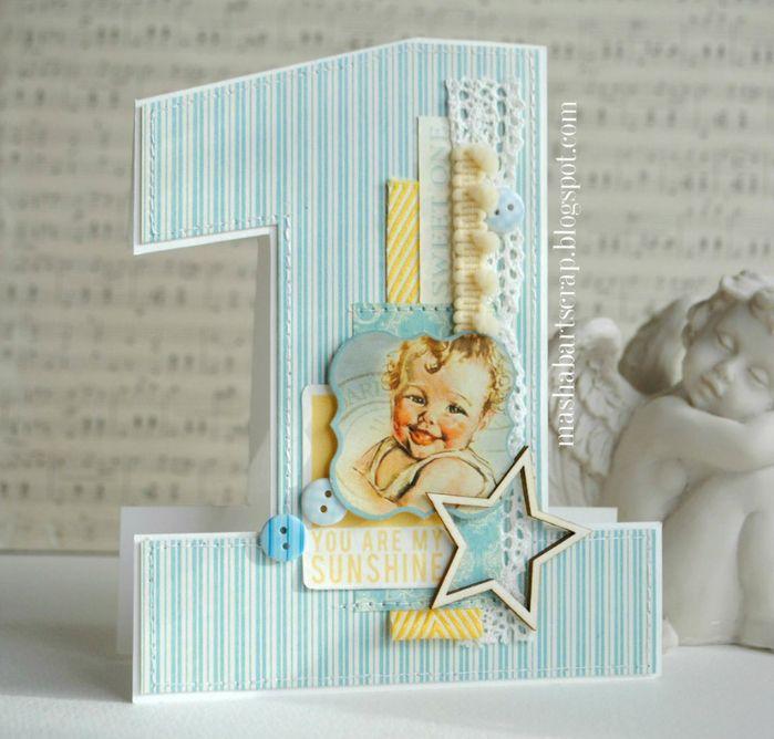 Открытка скрапбукинг с днем рождения 1 годик мальчику, подставкой
