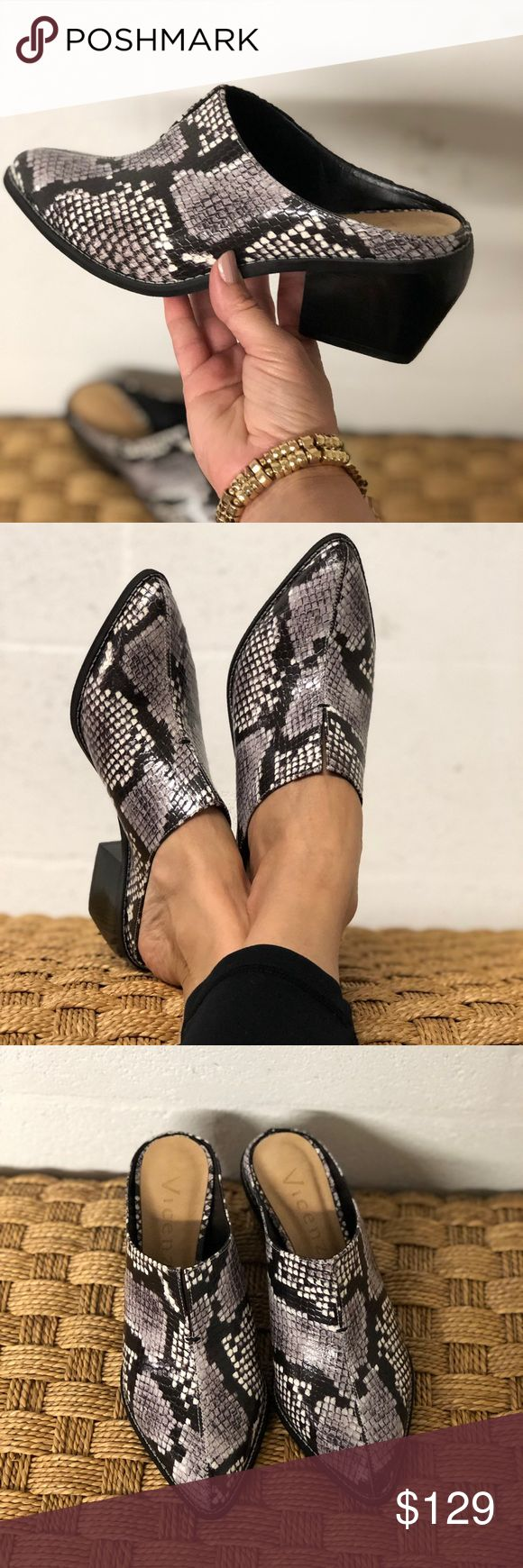 Vicenza Snake Print Leather Country Style Mules Vicenza Snake Print Leather Coun…