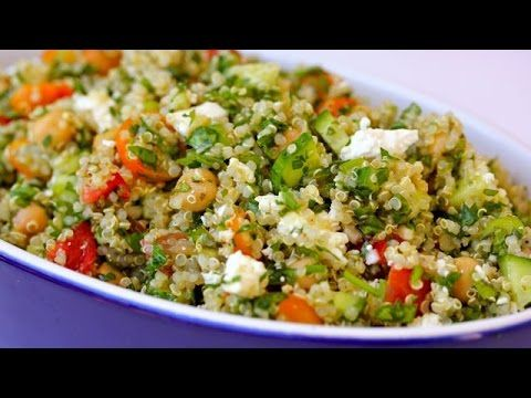 Quinoa Tabouli Salad - quinoa is a seed, often considered a grain, that you cook like rice.  This salad included tomato, cucumber, lemon, parsley, and mint with a lemon and olive oil dressing.  Mmmm, sounds good.