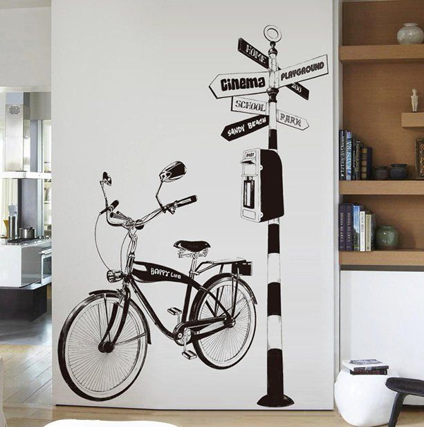 Bicycle Direction Stand Drawing Pattern Vinyl Wall Sticker