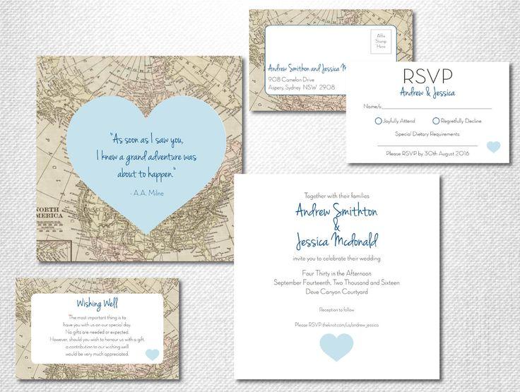 Print Map For Wedding Invitations: Destination Wedding Invitation