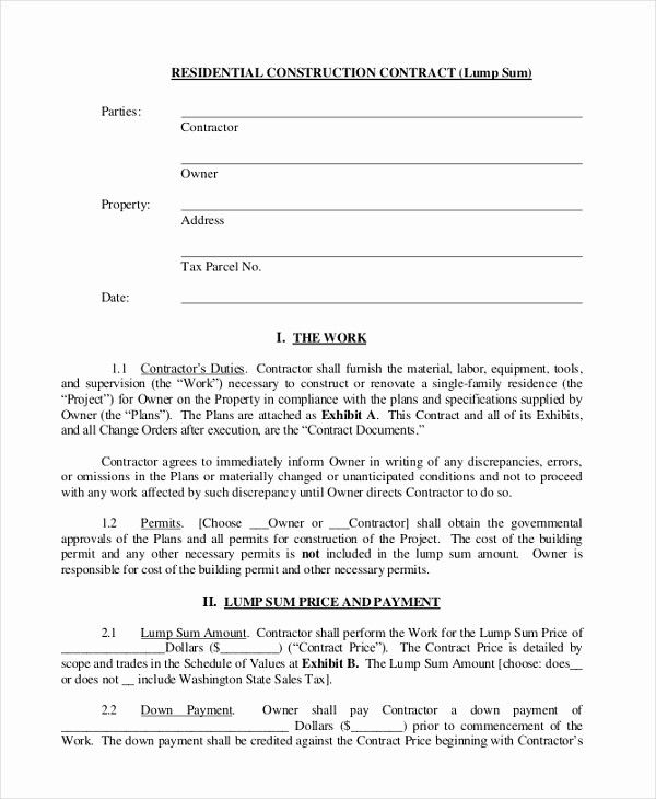 Free Residential Roofing Contract Template Lovely Sample Construction Contract Form 10 Free Documents In In 2020 Roofing Contract Contract Template Residential Roofing