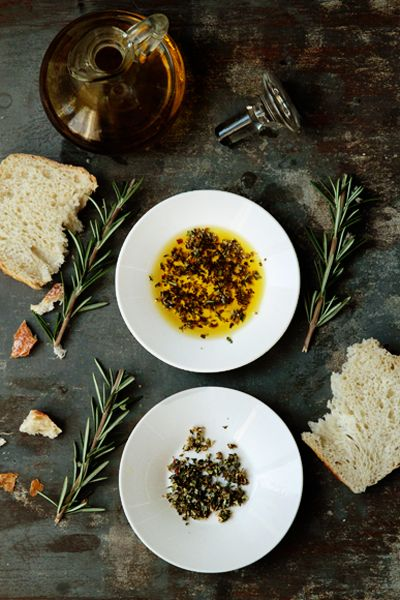 Olive-Oil-Dip...to accompany artisan bread  1/4 teaspoon oregano  1/4 teaspoon basil  1/4 teaspoon rosemary  1/4 teaspoon kosher salt (or according to your taste)  freshly ground black pepper  1 pinch red pepper flakes  2 cloves fresh garlic, minced  1/4 cup extra virgin olive oil