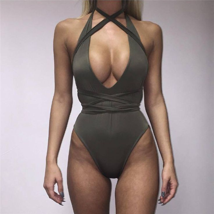 Wrapped Green One Piece Swimsuit