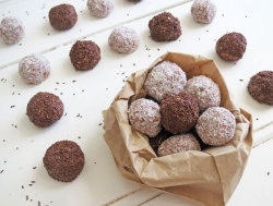Tim Tam Balls 1 x 200g packet Tim Tams 3/4 x 395g tin condensed milt Coconut or grated chocolate Method Crush Tim Tams in a blender, fold in condensed milk. Roll mixture into balls, then roll into coconut or grated chocolate Refrigerate until firm.