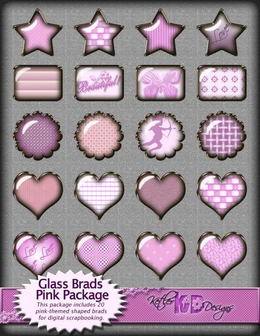 Digital Scrapbook Pink Glass Brads Embellishment package for your scrapbooking page or smashbook designs by Ketler Designs.