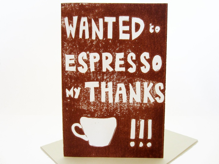 espresso thanks // brown coffee themed thank you card hand ...