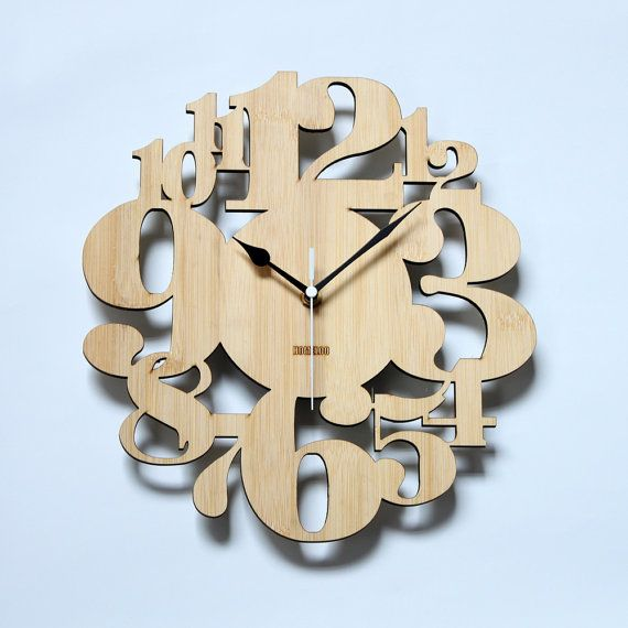 Unique Bamboo Wall Clock   Numeric Forest by HOMELOO on Etsy, $39.99