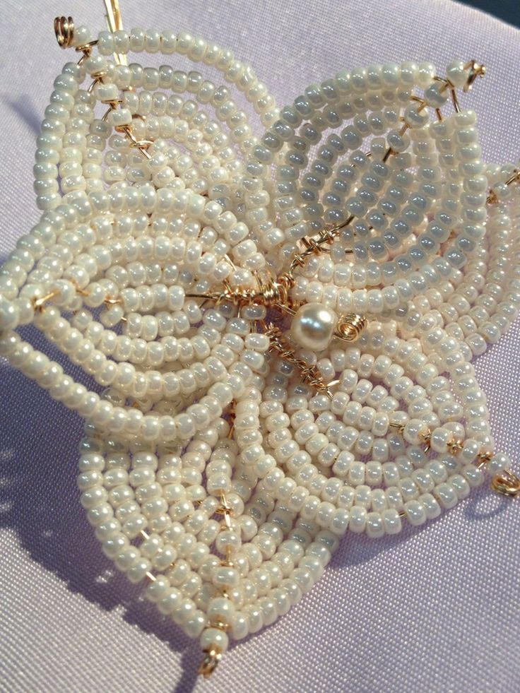 French Beading - use as a brooch, a hair piece or for adding to a bouquet!  http://www.thebead.co.uk/index.html