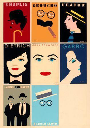 Postcards: Chaplin, Groucho, Keaton, Dietrich, Joan Crawford, Garbo, Laurel and Hardy, Harold Lloyd - Tom Eckersley