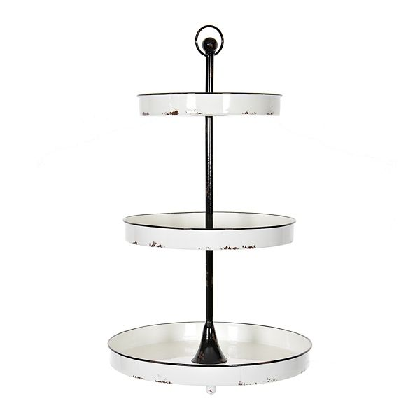 Black And White Round Metal 3 Tier Tray From Kirkland S In 2020 Tiered Tray Kirklands 3 Tier Metal Stand