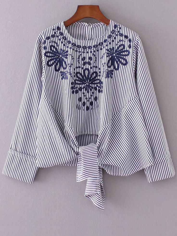 Striped Embroidered Blouse - STRIPE S