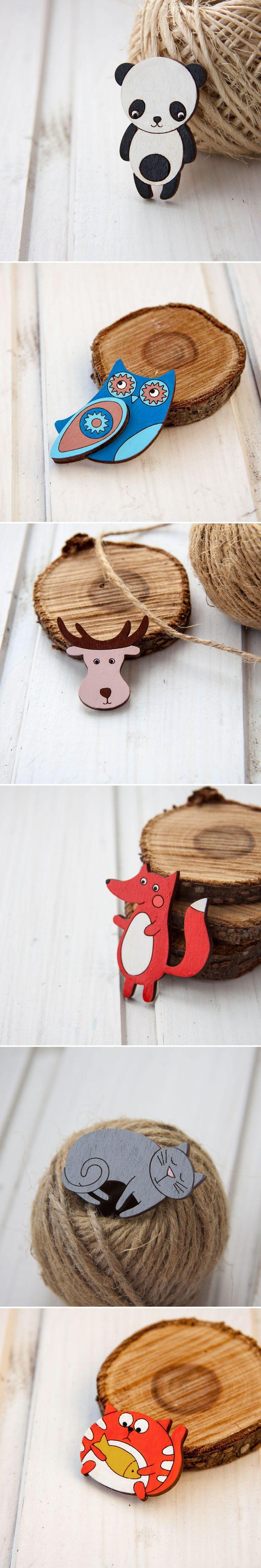 Wooden Brooches   Деревянные брошки — Купить, заказать, брошь, значок, дерево, ручная работа