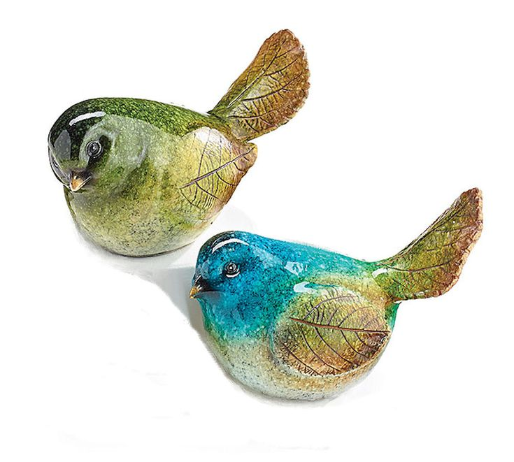 NEW Pair Speckle Bird Figurines Blue Green Resin Burton+Burton Gift #BurtonBurton