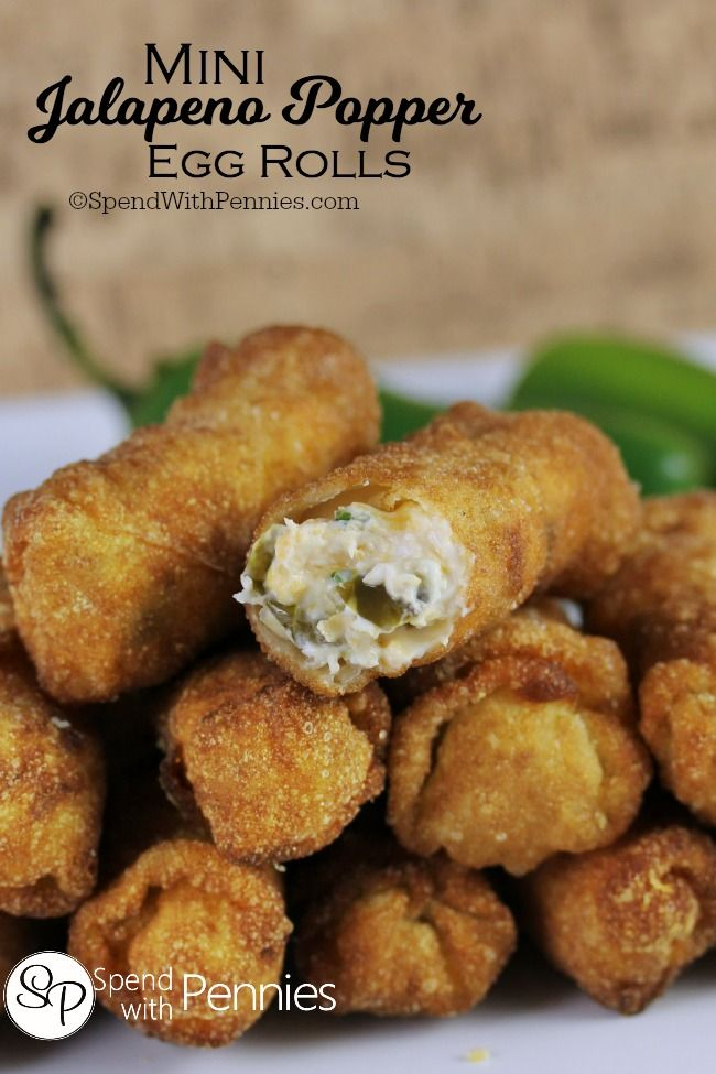 These Mini Jalapeno Popper Egg Rolls are the perfect snack!  If you love Jalapeno Poppers, you'll love these... crispy, cheesy, creamy & spicy!