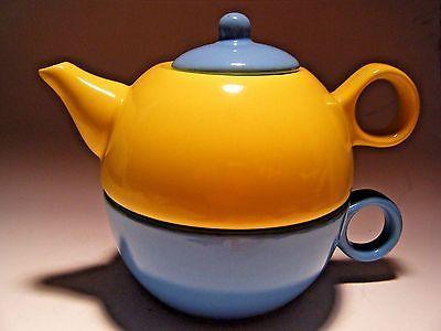 Conjunto-De-Xicara-Bule-De-Cha-Por-Um-Velho-Amsterdam-Porcelana-funciona-Brew-Amarelo-Azul-Petroleo