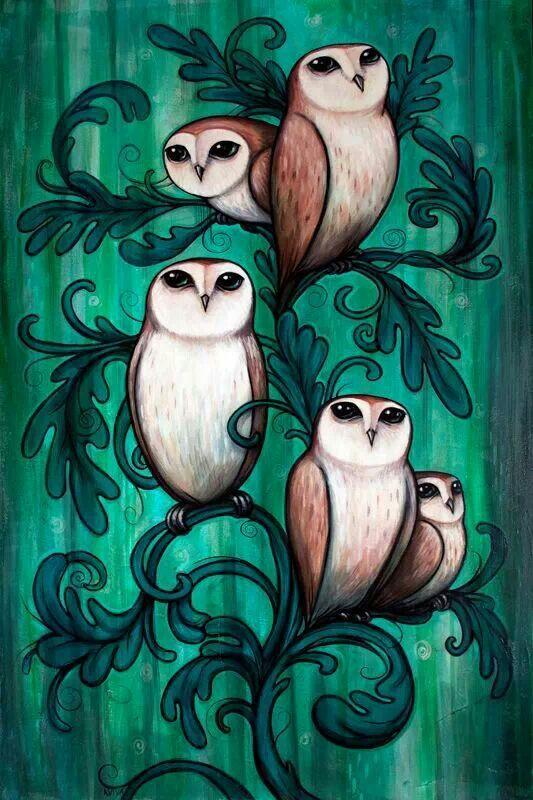 Открытка, рисованные картинки с совой