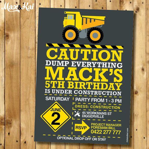 DIY CUSTOM Printable Construction Party Invitation by maxandkai